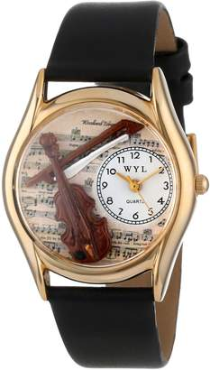Whimsical Watches Kids' C0510002 Classic Violin Black Leather And tone Watch