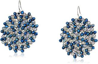 """Kenneth Cole New York Shiny Silver Items"""" Silver and Tonal Beaded Woven Drop Earrings"""