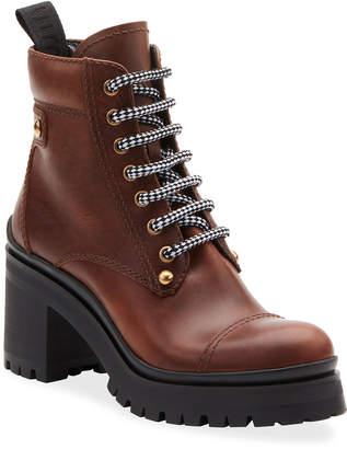 Miu Miu Lace-Up Leather Lug-Sole Hiker Boots