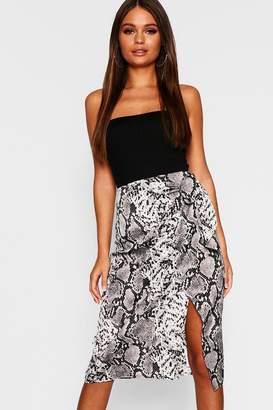 boohoo Snake Print Satin Wrap Tie Midi Skirt