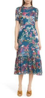 Women's Saloni Lorna Print Ruffle Hem Midi Dress $575 thestylecure.com