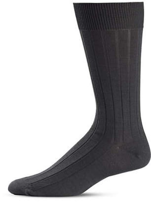 Black Brown 1826 Stripe Knit Crew Socks