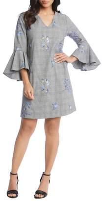Karen Kane Embroidered Bell Sleeve Dress
