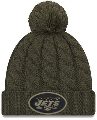 New Era Women's New York Jets Salute To Service Pom Knit Hat