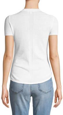 Minnie Rose Short-Sleeve Pointelle-Back Sweater