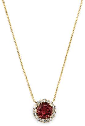 Bloomingdale's Pink Tourmaline & Diamond Halo Pendant Necklace in 14K Yellow Gold, 16 - 100% Exclusive