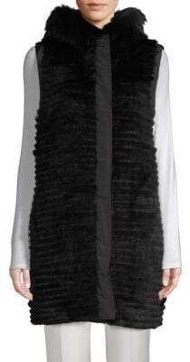 Reversible Dyed Fox & Rabbit Fur Vest