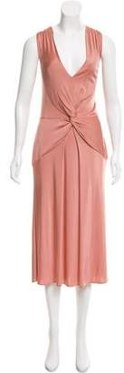 Alberta Ferretti Knot-Accented Midi Dress