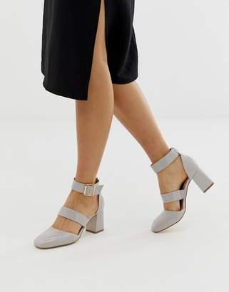 London Rebel square toe block heels