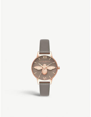 Olivia Burton OB16AM148 3D Bee rose gold and leather watch