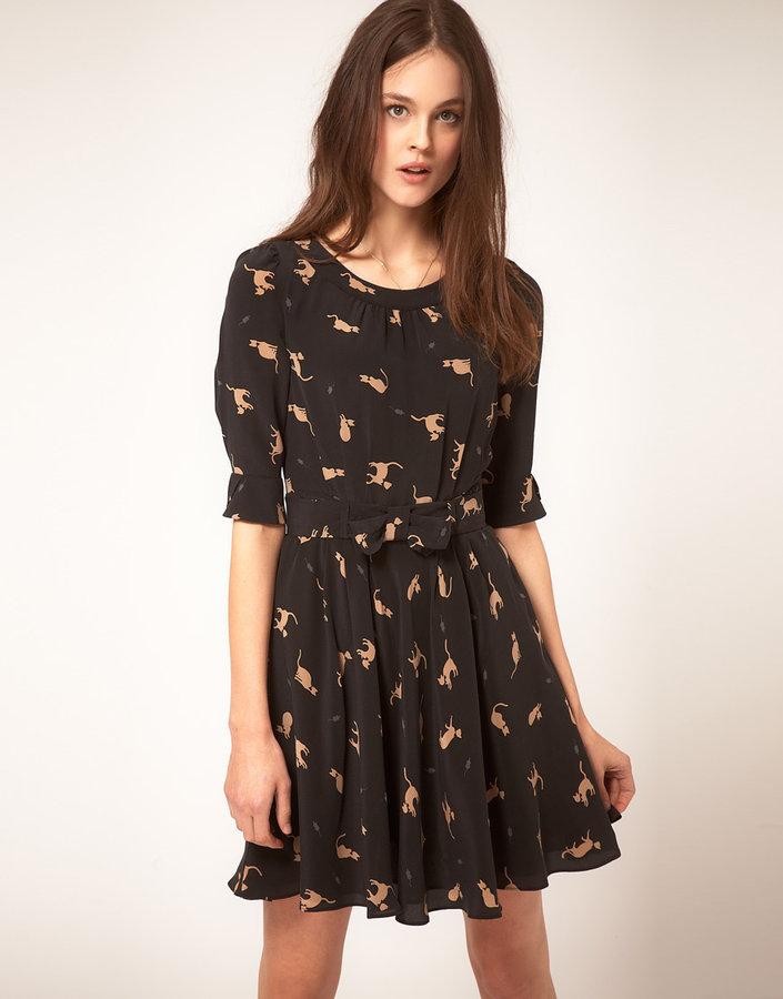 NW3 Annabel Cat Print Dress in Silk