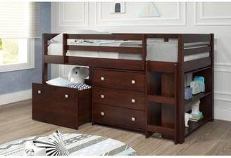 LOFT Harriet Bee Renley Twin Low Bed with Drawer and Bookcase Harriet Bee
