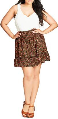 City Chic Floral Print Skirt