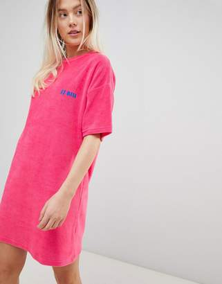 Asos Design DESIGN slogan towelling t-shirt dress