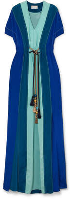 Peter Pilotto Gathered Paneled Silk Gown - Blue