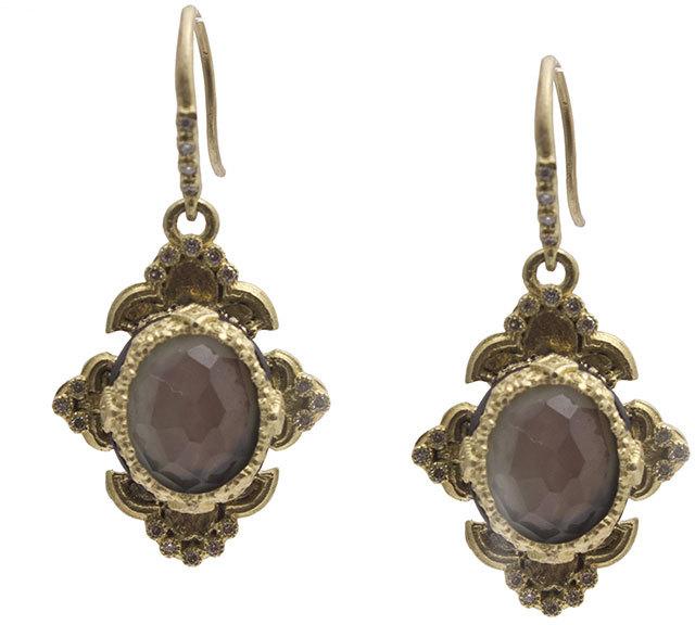 ArmentaArmenta Old World Scroll Triplet Drop Earrings w/ Mixed Diamonds