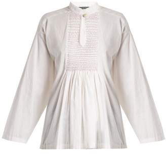 ALEXACHUNG Mandarin Collar Smocked Linen Top - Womens - White