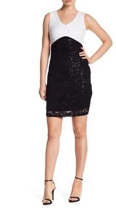 Marina Sequin Two Tone Dress