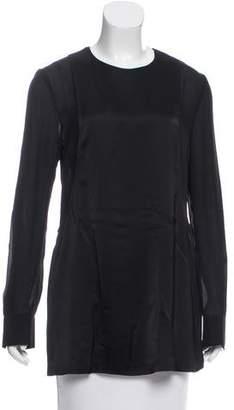 Calvin Klein Collection Long Sleeve Silk Top