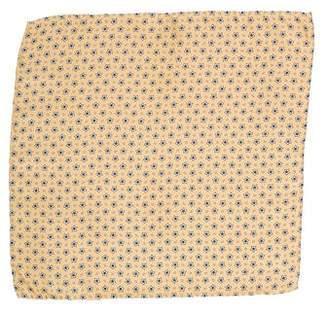 Luciano Barbera Silk Star Print Pocket Square w/ Tags