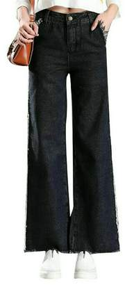 OTW-Women Classic Fringes Loose Wide Leg Denim Pants Bell-Bottoms Flares Jeans