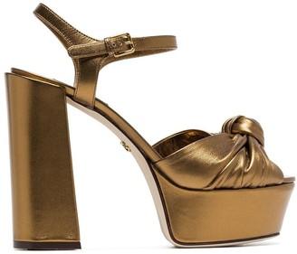 Dolce & Gabbana metallic gold platform 80 leather sandals