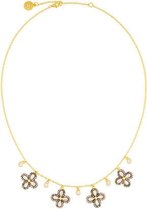 Freida Rothman Pave Crystal Clover Fringe Necklace