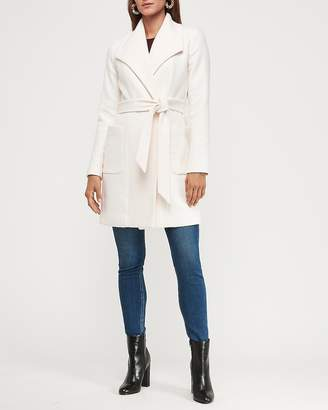 Express Long Belted Wool-Blend Wrap Front Car Coat