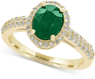 Effy Brasilica Emerald (1-1/8 ct. t.w.) and Diamond (1/3 ct. t.w.) Ring in 14k Gold, Created for Macy's
