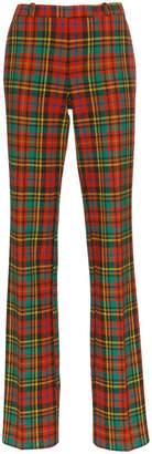 Etro check wool straight leg trousers