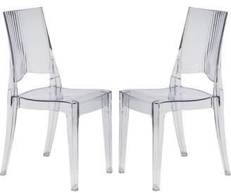 LeisureMod Modern Coral Transparent Dining Modern Chair, Set of 2