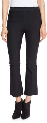 Derek Lam 10 Crosby Cropped Flare Stretch Trousers, Black