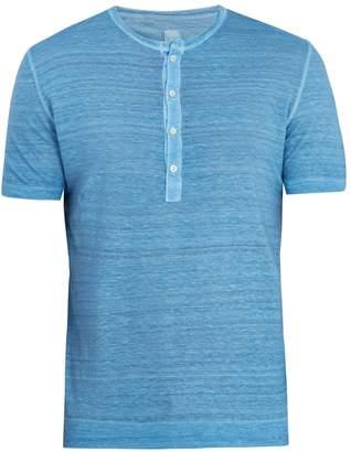 120% Lino 120 LINO Half-button linen-jersey T-shirt