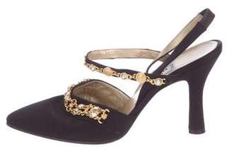 Gianni Versace Satin Embellished Pumps