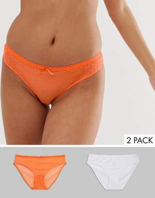 Dorina Joyce 2 pack jacquard mesh briefs in orange and white