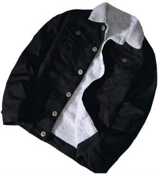 5f0039e37c5 GAGA-women clothes GAGA Mens Winter Fur Collar Pockets Fleece Lined Denim  Coats Jackets Coat