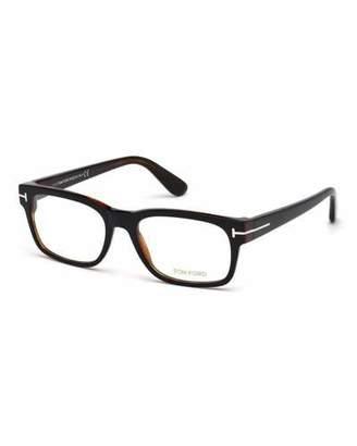 TOM FORD Rectangular Acetate Eyeglasses, Black/Havana $385 thestylecure.com