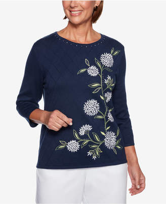 Alfred Dunner Petite Greenwich Hills Embellished 3/4-Sleeve Sweater