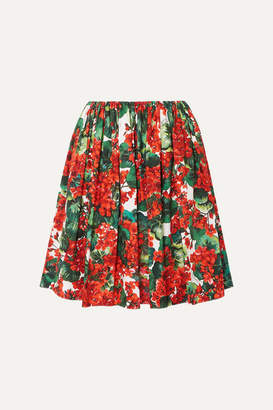 Dolce & Gabbana Pleated Floral-print Cotton Skirt - Red