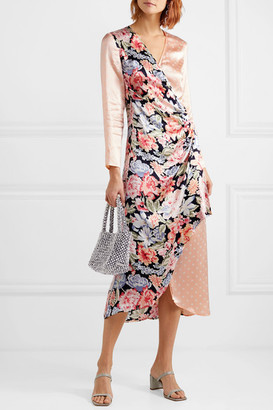 Rixo Betty Printed Satin Wrap Midi Dress - Peach