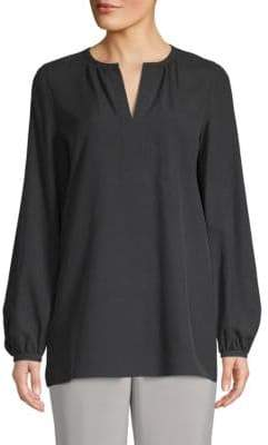 Lafayette 148 New York Lolita Split-Neck Silk Blouse