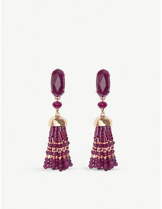 Kendra Scott Dove rhodium-plated and maroon jade tassel earrings