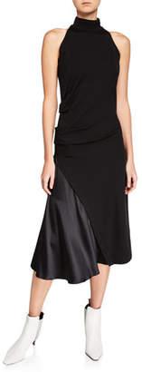 Brunello Cucinelli Mock-Neck Stretch Jersey Dress