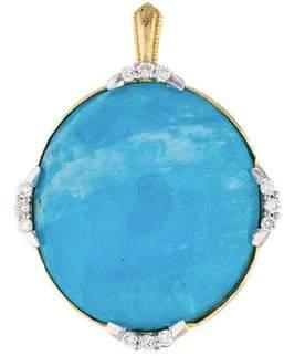 Jude Frances 18K Moonstone Turquoise Doublet & Diamond Pendant
