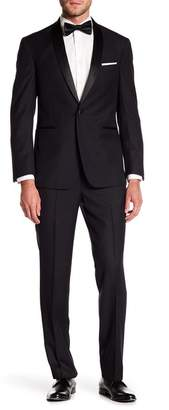 Kenneth Cole Reaction Black Pin Dot One Button Shawl Lapel Suit