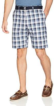 Savane Men's Flat Front Plaid Shorts with Belt