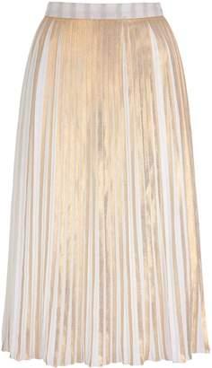 Yumi by Lilah Gold Stripe Print Pleated Midi Skir