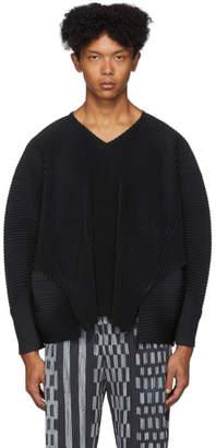 Issey Miyake Homme Plisse Black Pleated V-Neck Long Sleeve T-Shirt