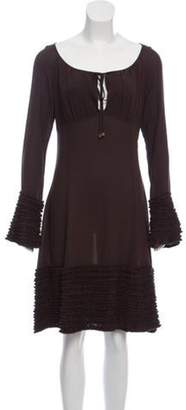 Michael Kors Ruffle-Trimmed Knee-Length Dress Brown Ruffle-Trimmed Knee-Length Dress