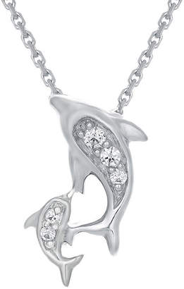FINE JEWELRY Diamond-Accent 10K White Gold Dolphins Mini Pendant Necklace